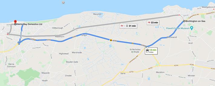 birchington to euronics map