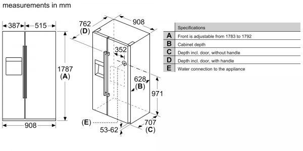 Bosch KAD93VBFPG - Dimensions